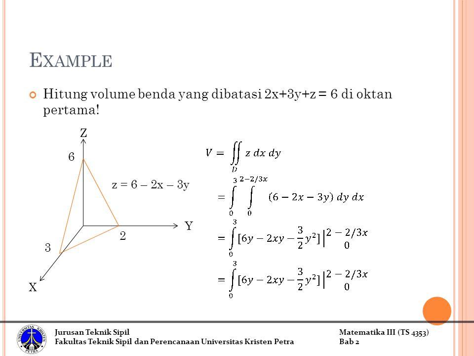E XAMPLE Hitung volume benda yang dibatasi 2x+3y+z = 6 di oktan pertama.