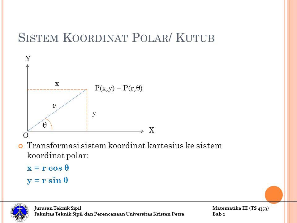 S ISTEM K OORDINAT P OLAR / K UTUB Transformasi sistem koordinat kartesius ke sistem koordinat polar: x = r cos θ y = r sin θ Y X y x r θ P(x,y) = P(r,θ) Jurusan Teknik SipilMatematika III (TS 4353) Fakultas Teknik Sipil dan Perencanaan Universitas Kristen PetraBab 2 O
