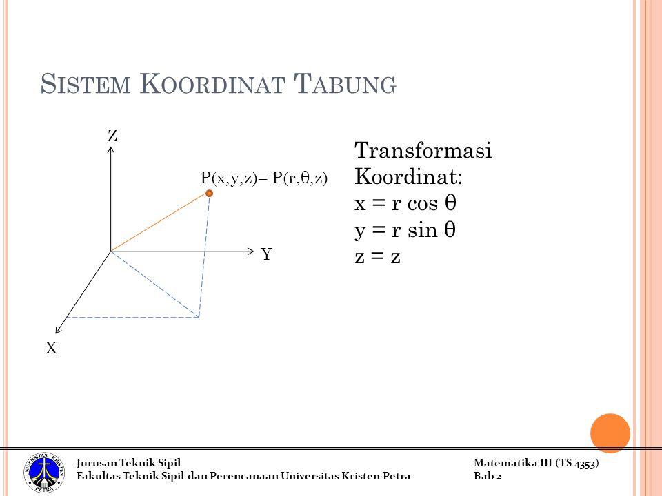 S ISTEM K OORDINAT T ABUNG Z Y X P(x,y,z)= P(r,θ,z) Transformasi Koordinat: x = r cos θ y = r sin θ z = z Jurusan Teknik SipilMatematika III (TS 4353) Fakultas Teknik Sipil dan Perencanaan Universitas Kristen PetraBab 2