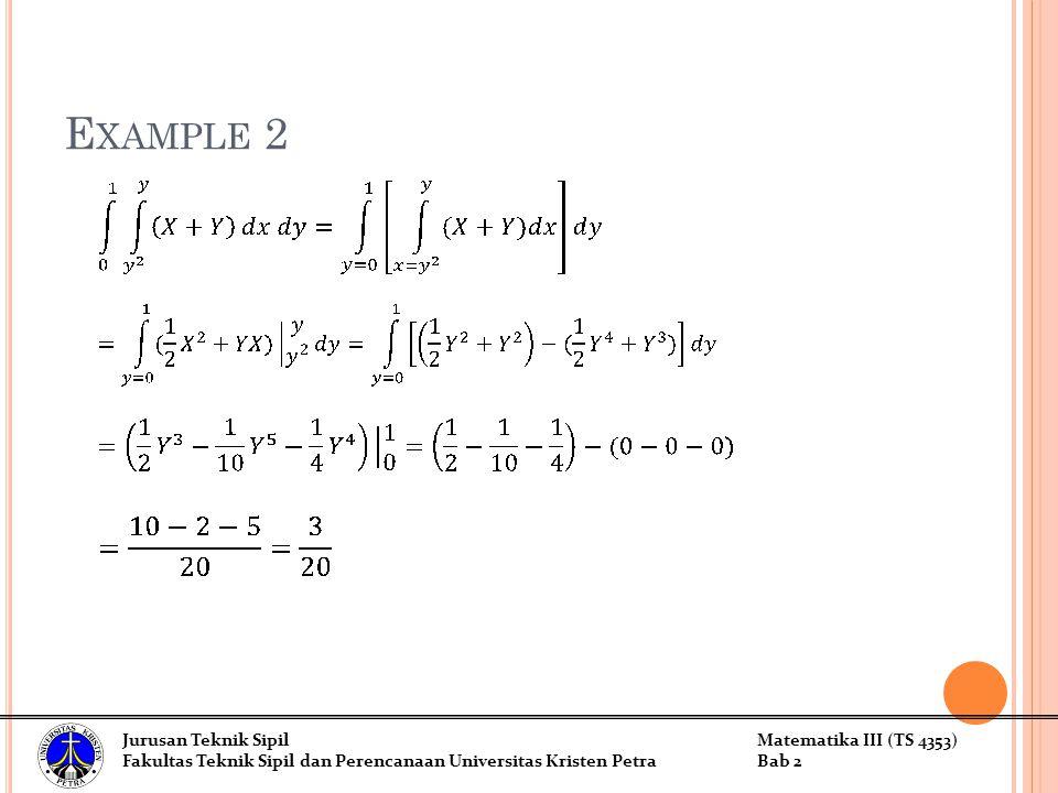 Jurusan Teknik SipilMatematika III (TS 4353) Fakultas Teknik Sipil dan Perencanaan Universitas Kristen PetraBab 2 E XAMPLE 2