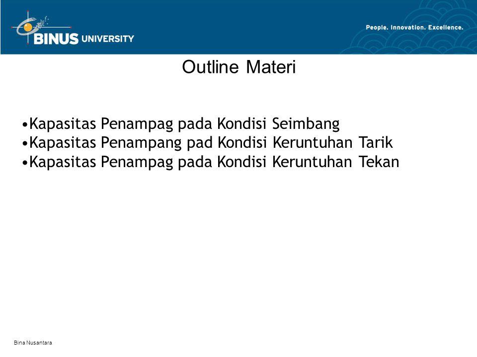 Bina Nusantara Outline Materi Kapasitas Penampag pada Kondisi Seimbang Kapasitas Penampang pad Kondisi Keruntuhan Tarik Kapasitas Penampag pada Kondis