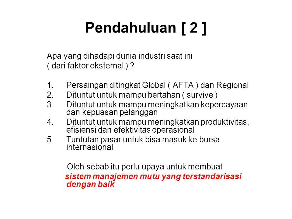 Pendahuluan [ 2 ] Apa yang dihadapi dunia industri saat ini ( dari faktor eksternal ) ? 1.Persaingan ditingkat Global ( AFTA ) dan Regional 2.Dituntut