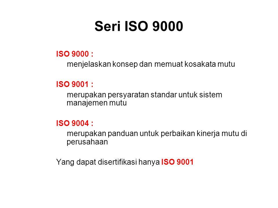 Seri ISO 9000 ISO 9000 : menjelaskan konsep dan memuat kosakata mutu ISO 9001 : merupakan persyaratan standar untuk sistem manajemen mutu ISO 9004 : m