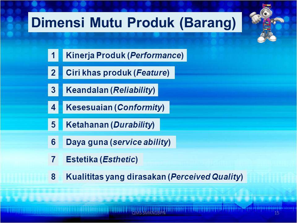 15 Dimensi Mutu Produk (Barang) 1Kinerja Produk (Performance) 2Ciri khas produk (Feature) 3Keandalan (Reliability) 4Kesesuaian (Conformity) 5Ketahanan