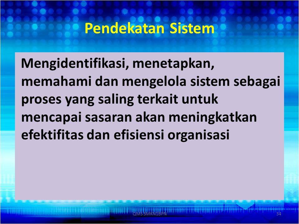 Pendekatan Sistem Mengidentifikasi, menetapkan, memahami dan mengelola sistem sebagai proses yang saling terkait untuk mencapai sasaran akan meningkat