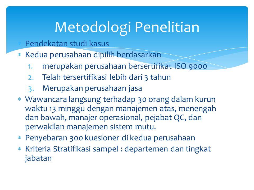  Pendekatan studi kasus  Kedua perusahaan dipilih berdasarkan 1.merupakan perusahaan bersertifikat ISO 9000 2.Telah tersertifikasi lebih dari 3 tahun 3.Merupakan perusahaan jasa  Wawancara langsung terhadap 30 orang dalam kurun waktu 13 minggu dengan manajemen atas, menengah dan bawah, manajer operasional, pejabat QC, dan perwakilan manajemen sistem mutu.