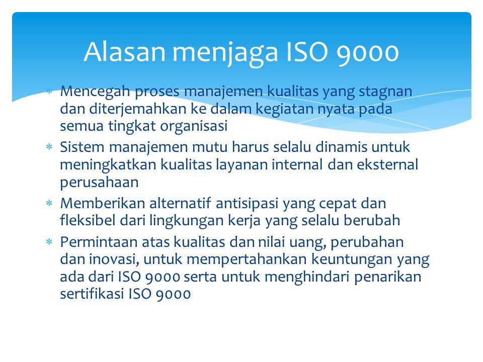  Mencegah proses manajemen kualitas yang stagnan dan diterjemahkan ke dalam kegiatan nyata pada semua tingkat organisasi  Sistem manajemen mutu harus selalu dinamis untuk meningkatkan kualitas layanan internal dan eksternal perusahaan  Memberikan alternatif antisipasi yang cepat dan fleksibel dari lingkungan kerja yang selalu berubah  Permintaan atas kualitas dan nilai uang, perubahan dan inovasi, untuk mempertahankan keuntungan yang ada dari ISO 9000 serta untuk menghindari penarikan sertifikasi ISO 9000 Alasan menjaga ISO 9000