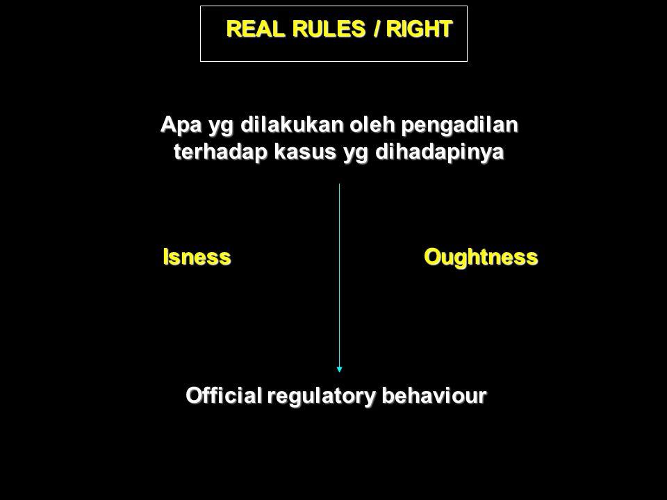 REAL RULES / RIGHT Apa yg dilakukan oleh pengadilan terhadap kasus yg dihadapinya Isness Official regulatory behaviour Oughtness