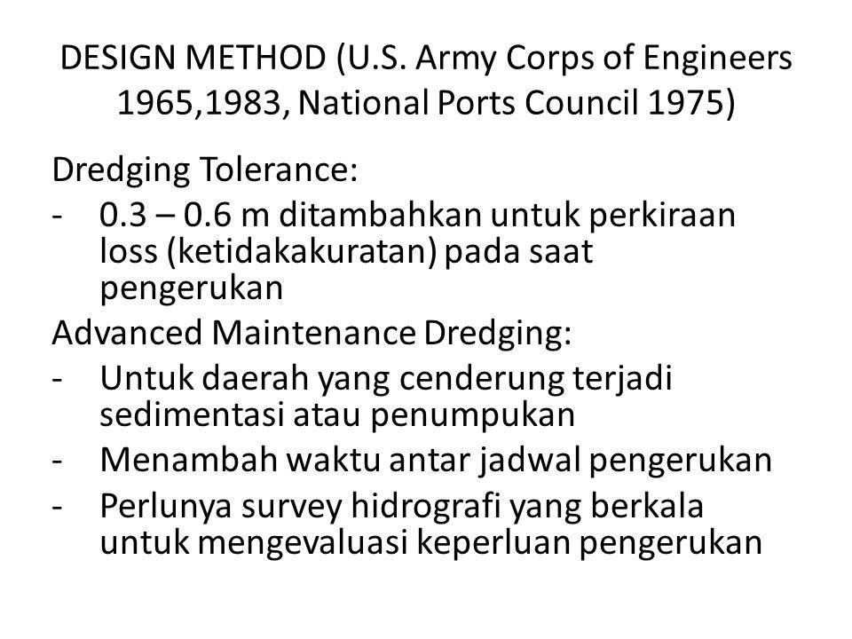 DESIGN METHOD (U.S. Army Corps of Engineers 1965,1983, National Ports Council 1975) Dredging Tolerance: -0.3 – 0.6 m ditambahkan untuk perkiraan loss