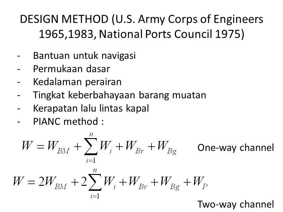 DESIGN METHOD (U.S. Army Corps of Engineers 1965,1983, National Ports Council 1975) -Bantuan untuk navigasi -Permukaan dasar -Kedalaman perairan -Ting