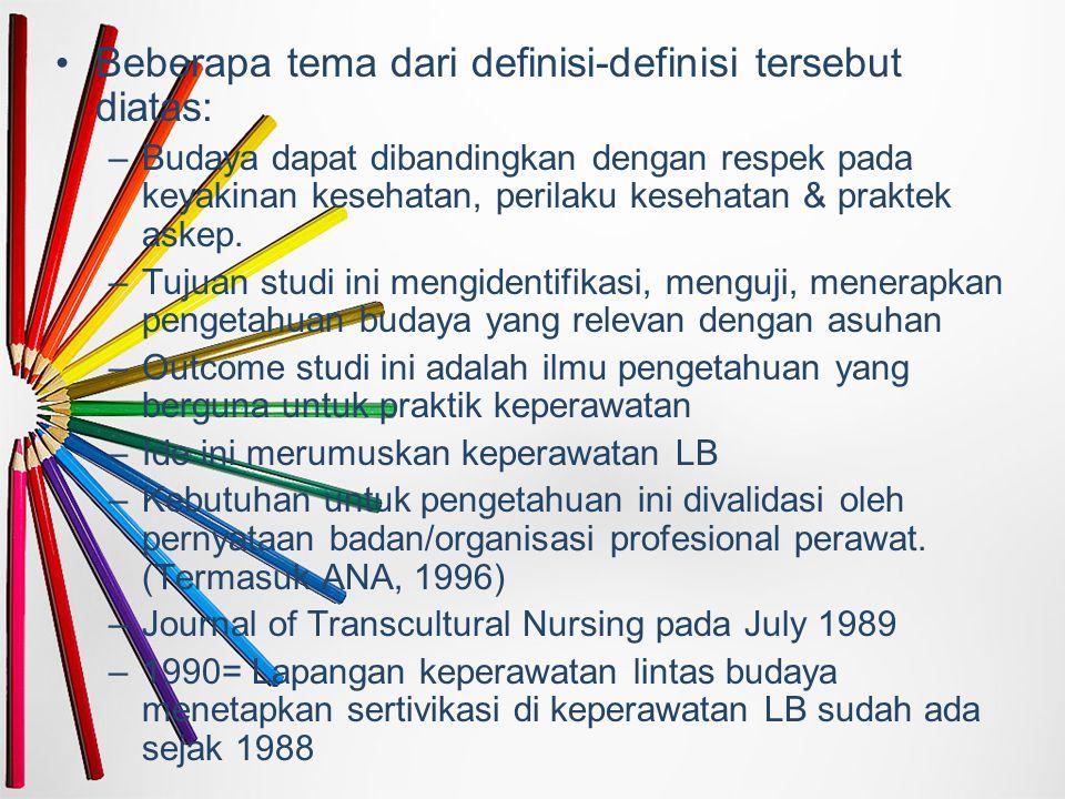 Beberapa tema dari definisi-definisi tersebut diatas: –Budaya dapat dibandingkan dengan respek pada keyakinan kesehatan, perilaku kesehatan & praktek