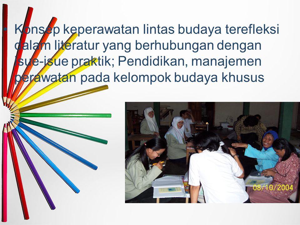 Konsep keperawatan lintas budaya terefleksi dalam literatur yang berhubungan dengan isue-isue praktik; Pendidikan, manajemen perawatan pada kelompok b