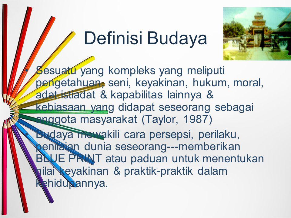 Definisi Budaya Sesuatu yang kompleks yang meliputi pengetahuan, seni, keyakinan, hukum, moral, adat istiadat & kapabilitas lainnya & kebiasaan yang d