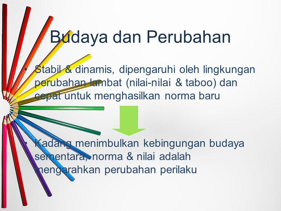 Budaya dan Perubahan Stabil & dinamis, dipengaruhi oleh lingkungan perubahan lambat (nilai-nilai & taboo) dan cepat untuk menghasilkan norma baru Kada