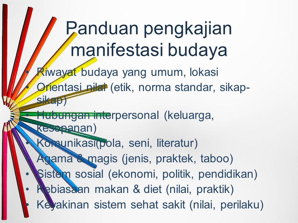 Panduan pengkajian manifestasi budaya Riwayat budaya yang umum, lokasi Orientasi nilai (etik, norma standar, sikap- sikap) Hubungan interpersonal (ke