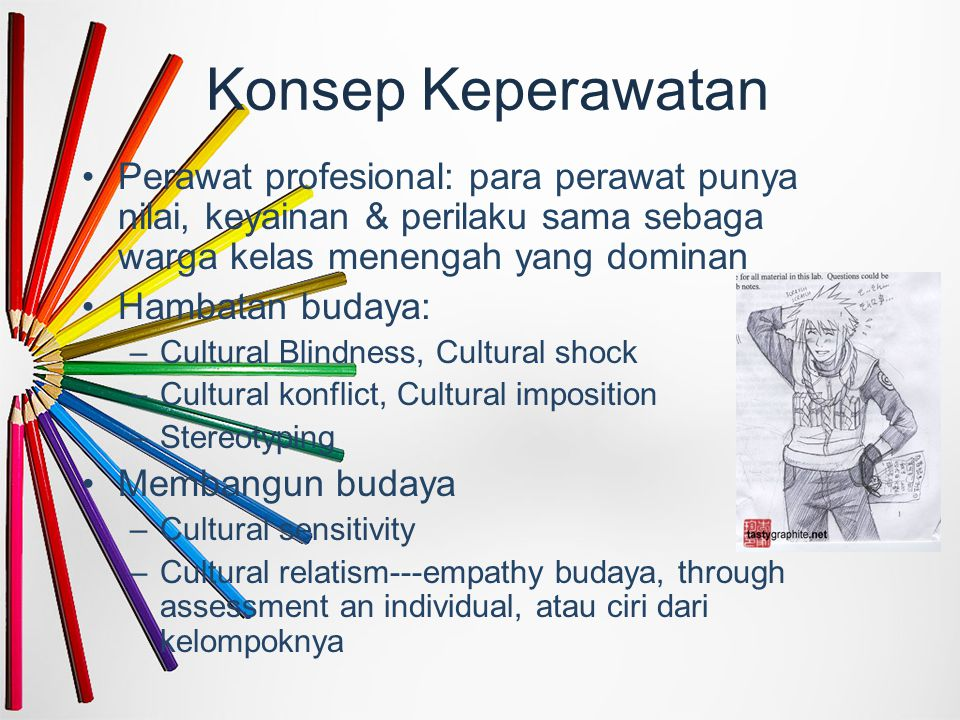 Konsep Keperawatan Perawat profesional: para perawat punya nilai, keyainan & perilaku sama sebaga warga kelas menengah yang dominan Hambatan budaya: –