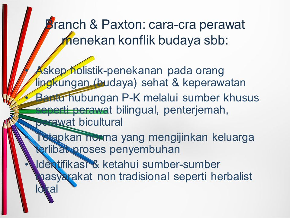 Branch & Paxton: cara-cra perawat menekan konflik budaya sbb: Askep holistik-penekanan pada orang lingkungan (budaya) sehat & keperawatan Bantu hubung
