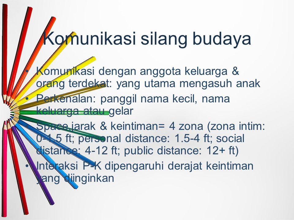 Komunikasi silang budaya Komunikasi dengan anggota keluarga & orang terdekat: yang utama mengasuh anak Perkenalan: panggil nama kecil, nama keluarga a