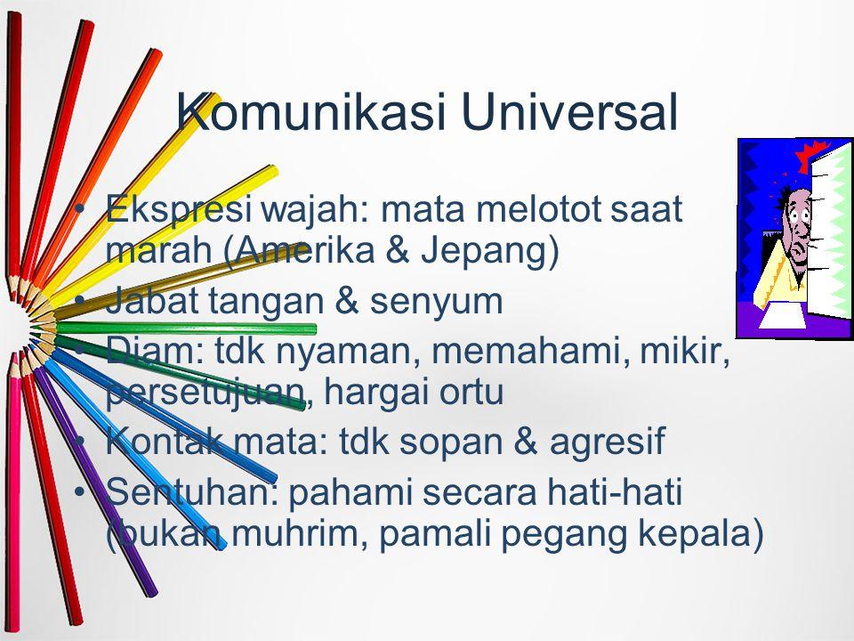 Komunikasi Universal Ekspresi wajah: mata melotot saat marah (Amerika & Jepang) Jabat tangan & senyum Diam: tdk nyaman, memahami, mikir, persetujuan,