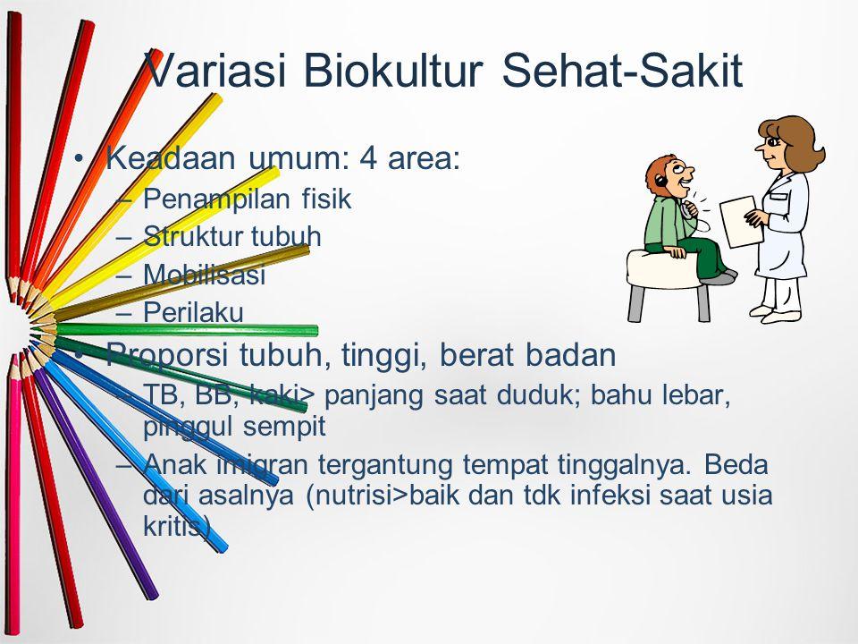 Variasi Biokultur Sehat-Sakit Keadaan umum: 4 area: –Penampilan fisik –Struktur tubuh –Mobilisasi –Perilaku Proporsi tubuh, tinggi, berat badan –TB, B
