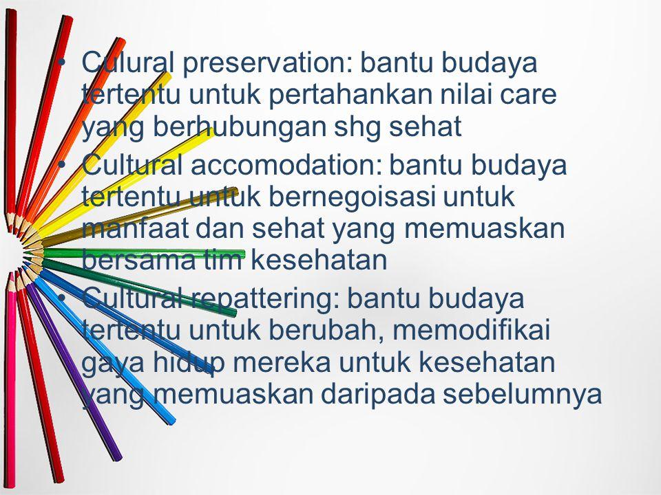 Culural preservation: bantu budaya tertentu untuk pertahankan nilai care yang berhubungan shg sehat Cultural accomodation: bantu budaya tertentu untuk