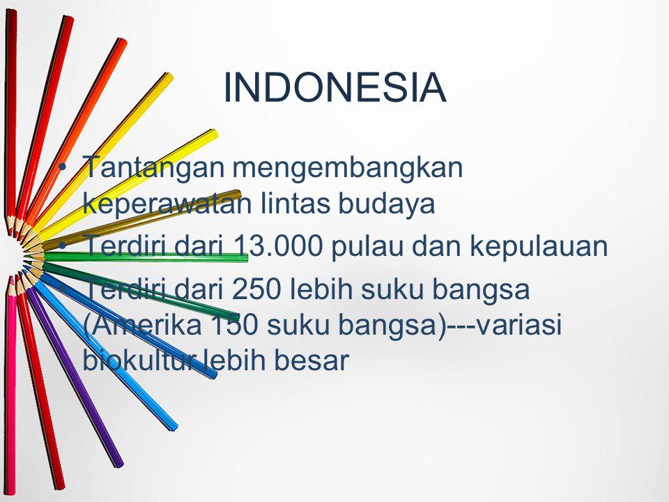 INDONESIA Tantangan mengembangkan keperawatan lintas budaya Terdiri dari 13.000 pulau dan kepulauan Terdiri dari 250 lebih suku bangsa (Amerika 150 su