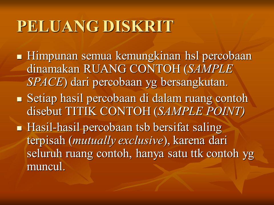 PELUANG DISKRIT Himpunan semua kemungkinan hsl percobaan dinamakan RUANG CONTOH (SAMPLE SPACE) dari percobaan yg bersangkutan.