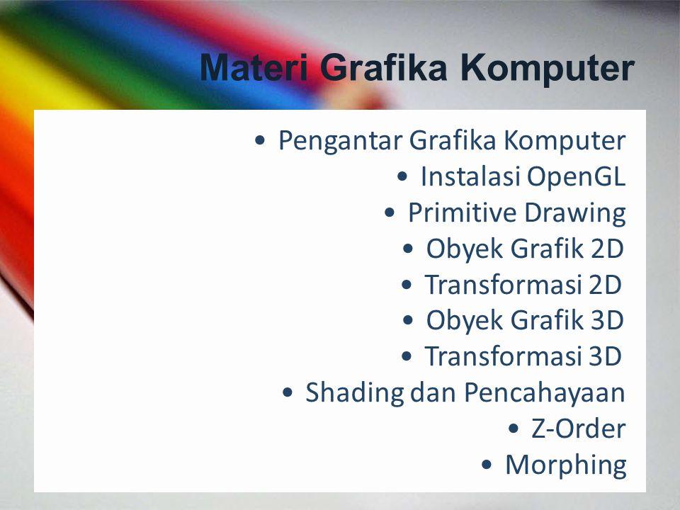 Materi Grafika Komputer Pengantar Grafika Komputer Instalasi OpenGL Primitive Drawing Obyek Grafik 2D Transformasi 2D Obyek Grafik 3D Transformasi 3D