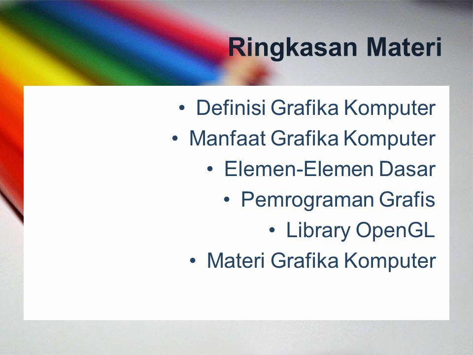 Skenario Pemrograman Grafis Visualization Animation & Control Graphic Element C++ Graphic Library