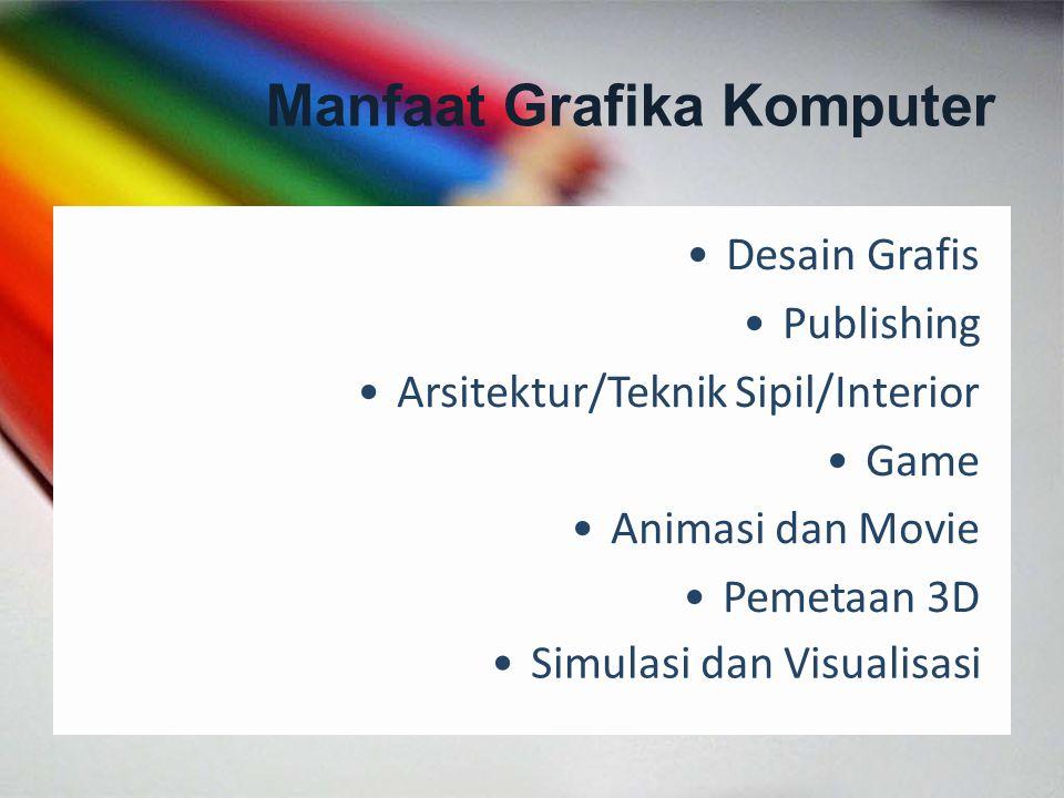 Desain Grafis Publishing Arsitektur/Teknik Sipil/Interior Game Animasi dan Movie Pemetaan 3D Simulasi dan Visualisasi Manfaat Grafika Komputer