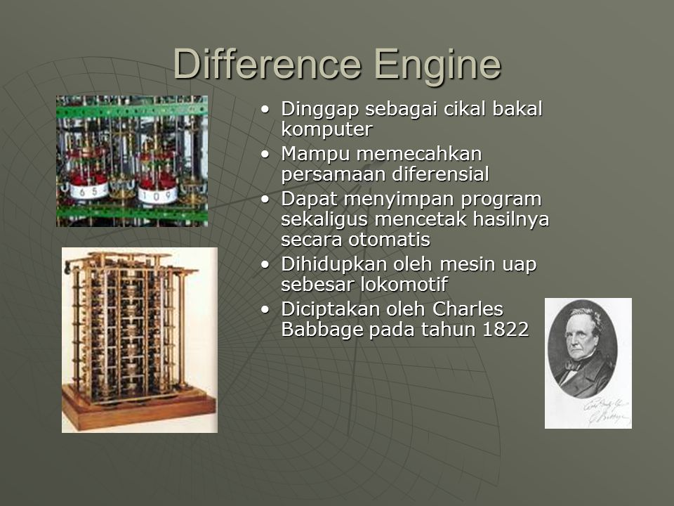 Arithometer Mesin hitung mekanikMesin hitung mekanik Sudah bisa melakukan 4 operasi aritmetika dasar (penjumlahan, pengurangan, perkalian, dan pembagian)Sudah bisa melakukan 4 operasi aritmetika dasar (penjumlahan, pengurangan, perkalian, dan pembagian) Diciptakan oleh Charles Xavier Thomas de Colmar pada tahun 1820Diciptakan oleh Charles Xavier Thomas de Colmar pada tahun 1820