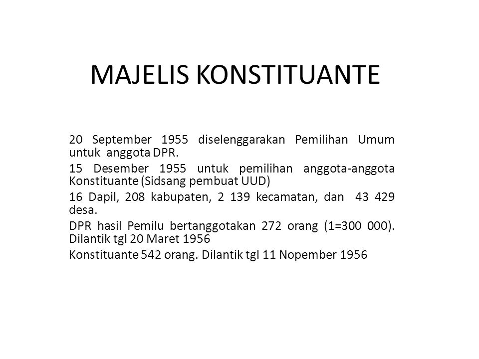 MAJELIS KONSTITUANTE 20 September 1955 diselenggarakan Pemilihan Umum untuk anggota DPR.