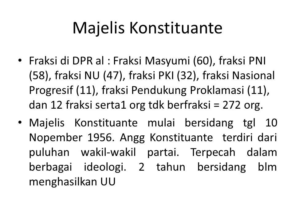 Majelis Konstituante Fraksi di DPR al : Fraksi Masyumi (60), fraksi PNI (58), fraksi NU (47), fraksi PKI (32), fraksi Nasional Progresif (11), fraksi Pendukung Proklamasi (11), dan 12 fraksi serta1 org tdk berfraksi = 272 org.