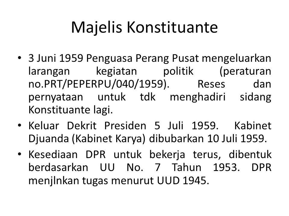 Majelis Konstituante 3 Juni 1959 Penguasa Perang Pusat mengeluarkan larangan kegiatan politik (peraturan no.PRT/PEPERPU/040/1959).