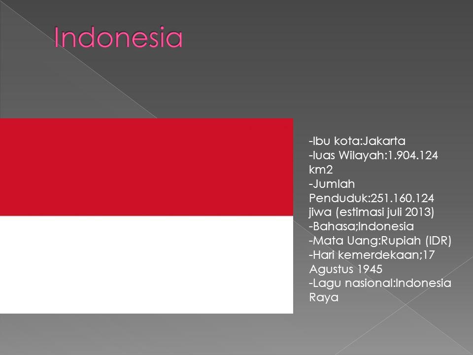 -Ibu kota:Jakarta -luas Wilayah:1.904.124 km2 -Jumlah Penduduk:251.160.124 jiwa (estimasi juli 2013) -Bahasa;Indonesia -Mata Uang:Rupiah (IDR) -Hari kemerdekaan;17 Agustus 1945 -Lagu nasional:Indonesia Raya