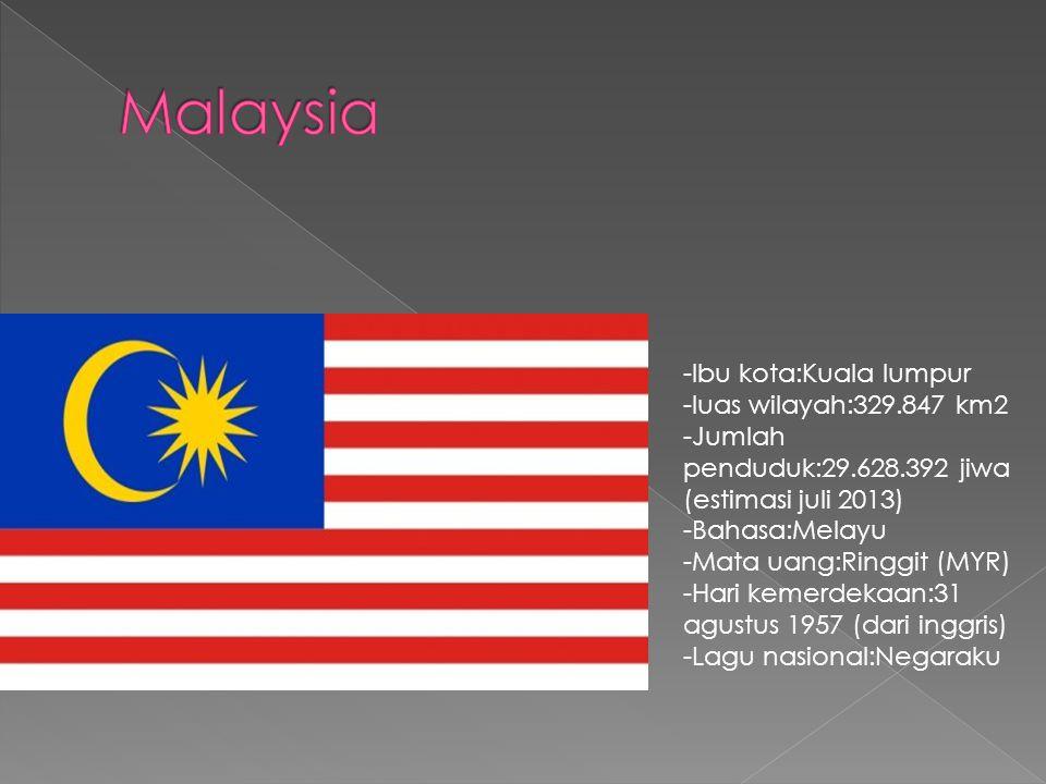 -Ibu kota:Kuala lumpur -luas wilayah:329.847 km2 -Jumlah penduduk:29.628.392 jiwa (estimasi juli 2013) -Bahasa:Melayu -Mata uang:Ringgit (MYR) -Hari kemerdekaan:31 agustus 1957 (dari inggris) -Lagu nasional:Negaraku