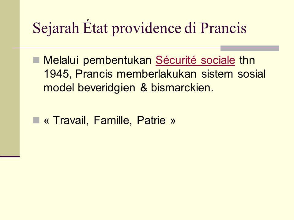 Sejarah État providence di Prancis Melalui pembentukan Sécurité sociale thn 1945, Prancis memberlakukan sistem sosial model beveridgien & bismarckien.Sécurité sociale « Travail, Famille, Patrie »