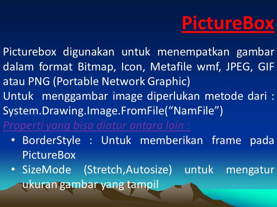 ListBox Listbox merupakan input control terdiri atas elemen yang merupakan sebuah daftar teks yang dapat dipilih berdasarkan index dimulai dari 0 sampai maksimum jumlah index dikurangi 1 Untuk mengaktifkan Listbox, tarik icon Listbox dari Toolbox dan letakkan pada form.