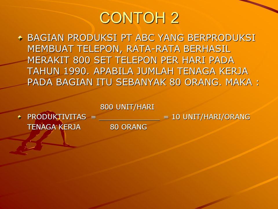 CONTOH 2 BAGIAN PRODUKSI PT ABC YANG BERPRODUKSI MEMBUAT TELEPON, RATA-RATA BERHASIL MERAKIT 800 SET TELEPON PER HARI PADA TAHUN 1990.
