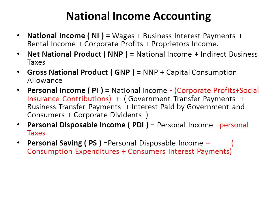 National Income Accounting National Income ( NI ) = Wages + Business Interest Payments + Rental Income + Corporate Profits + Proprietors Income.