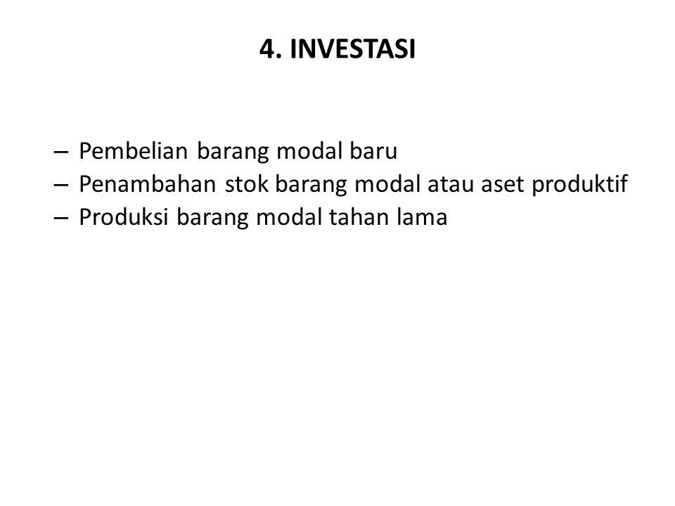 4. INVESTASI – Pembelian barang modal baru – Penambahan stok barang modal atau aset produktif – Produksi barang modal tahan lama