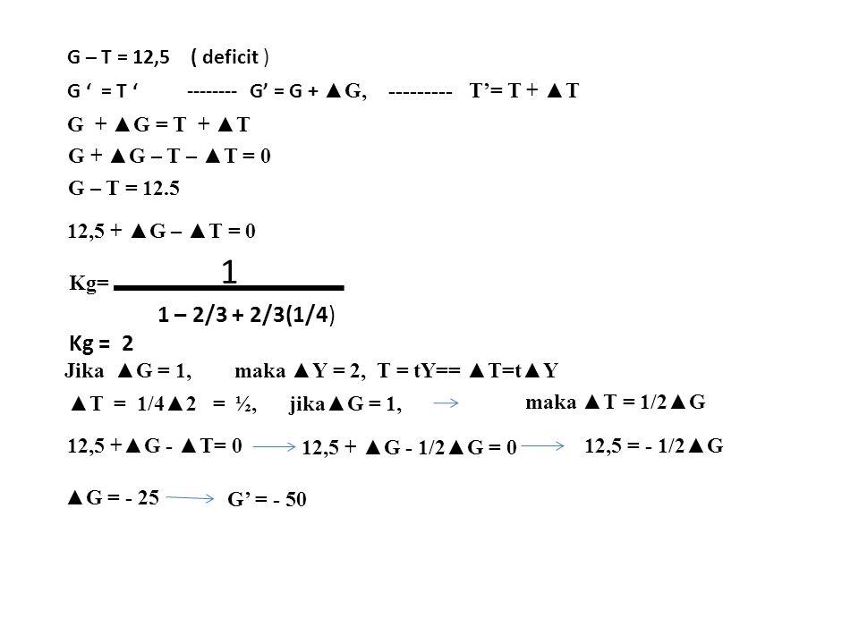 G – T = 12,5 ( deficit ) G ' = T ' -------- G' = G + ▲G, --------- T'= T + ▲T G + ▲G = T + ▲T G + ▲G – T – ▲T = 0 G – T = 12.5 12,5 + ▲G – ▲T = 0 Kg=