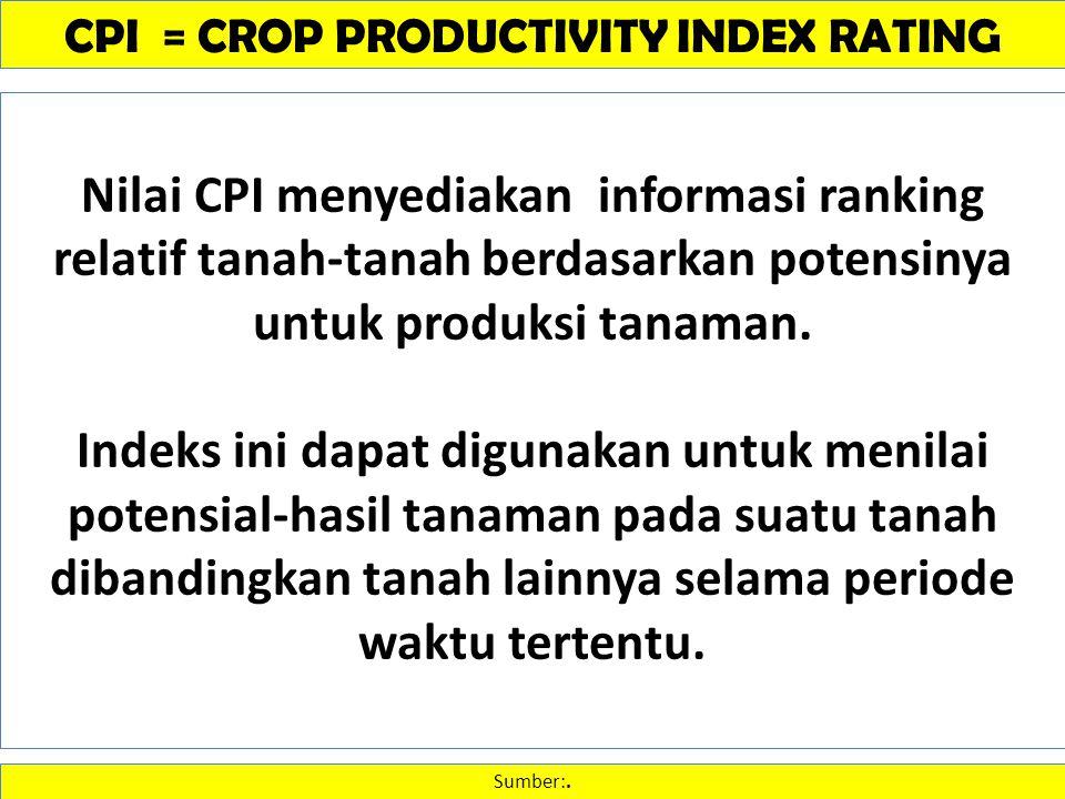 CPI = CROP PRODUCTIVITY INDEX RATING Sumber:. Nilai CPI menyediakan informasi ranking relatif tanah-tanah berdasarkan potensinya untuk produksi tanama