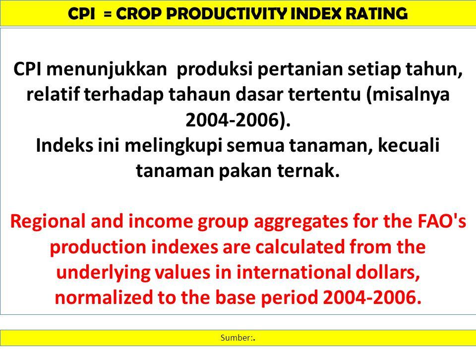 CPI = CROP PRODUCTIVITY INDEX RATING Sumber:. CPI menunjukkan produksi pertanian setiap tahun, relatif terhadap tahaun dasar tertentu (misalnya 2004-2