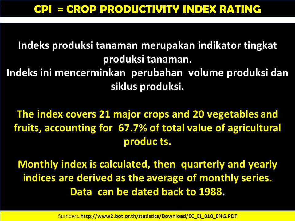 CPI = CROP PRODUCTIVITY INDEX RATING Sumber:. http://www2.bot.or.th/statistics/Download/EC_EI_010_ENG.PDF Indeks produksi tanaman merupakan indikator