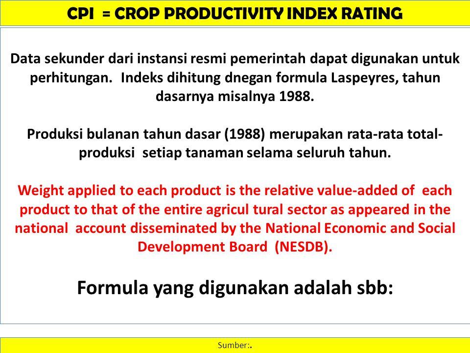 CPI = CROP PRODUCTIVITY INDEX RATING Sumber:. Data sekunder dari instansi resmi pemerintah dapat digunakan untuk perhitungan. Indeks dihitung dnegan f