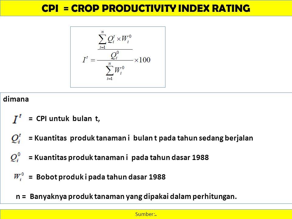 CPI = CROP PRODUCTIVITY INDEX RATING Sumber:. dimana = CPI untuk bulan t, = Kuantitas produk tanaman i bulan t pada tahun sedang berjalan = Kuantitas