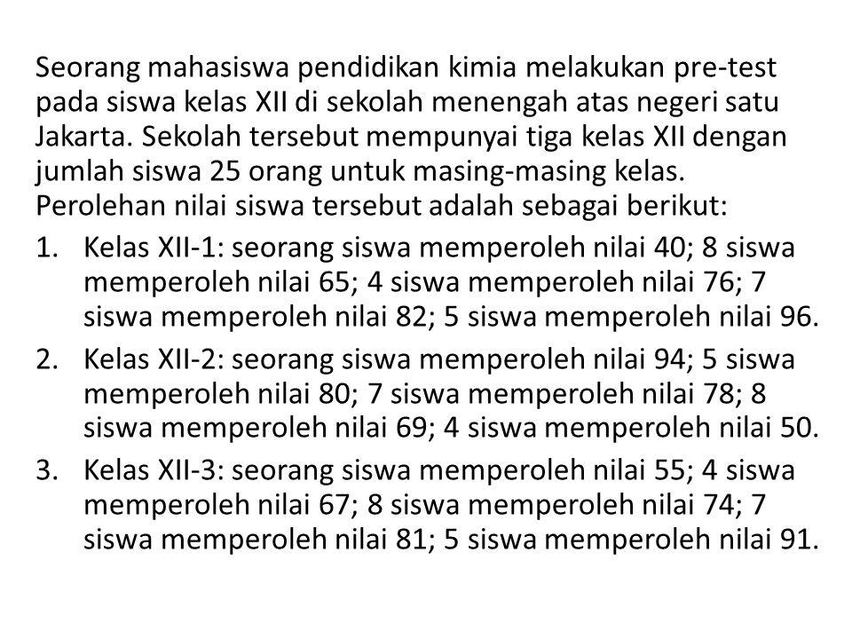 Seorang mahasiswa pendidikan kimia melakukan pre-test pada siswa kelas XII di sekolah menengah atas negeri satu Jakarta. Sekolah tersebut mempunyai ti
