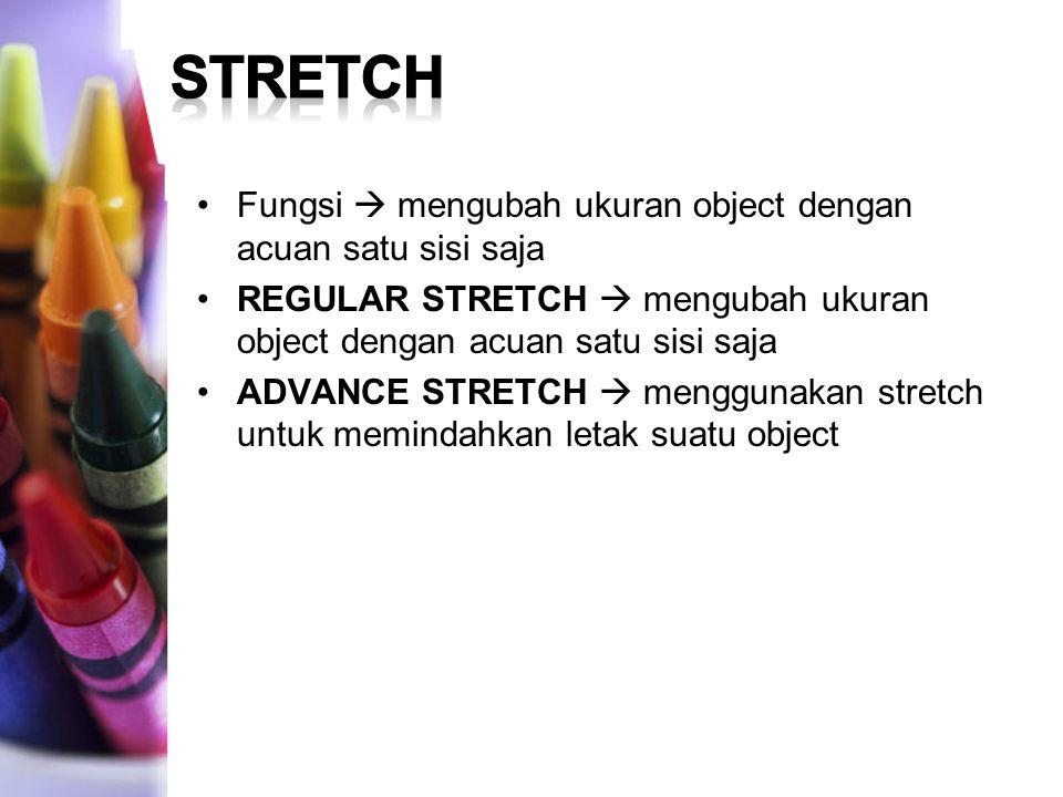 Fungsi  mengubah ukuran object dengan acuan satu sisi saja REGULAR STRETCH  mengubah ukuran object dengan acuan satu sisi saja ADVANCE STRETCH  menggunakan stretch untuk memindahkan letak suatu object