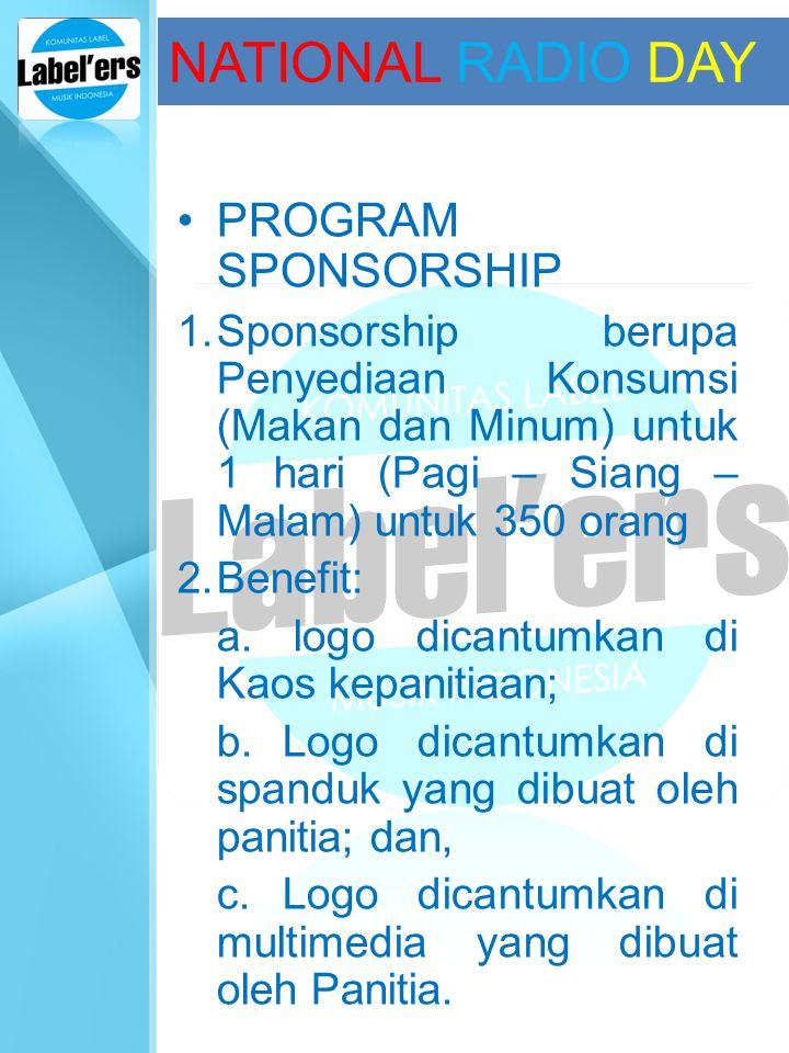 NATIONAL RADIO DAY PROGRAM SPONSORSHIP 1.Sponsorship berupa Penyediaan Konsumsi (Makan dan Minum) untuk 1 hari (Pagi – Siang – Malam) untuk 350 orang
